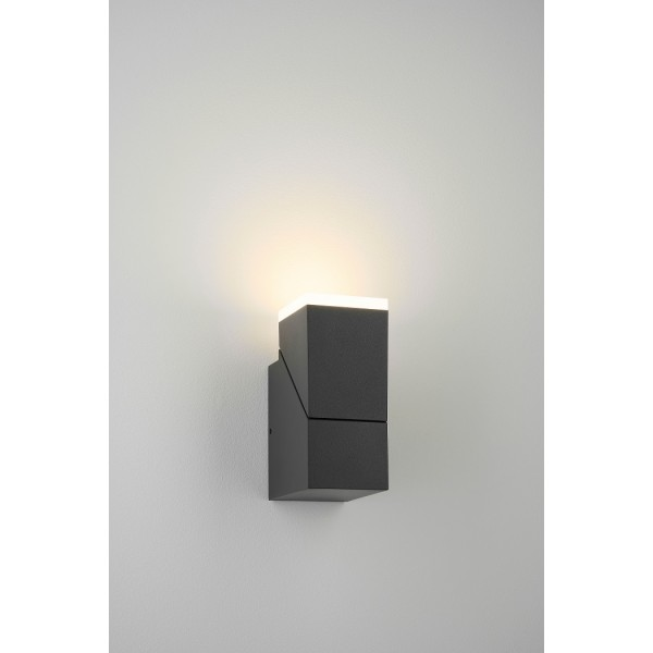 Aplica LED de perete 8W orientabila Evo Square Up SCHRACK antracit lumina calda