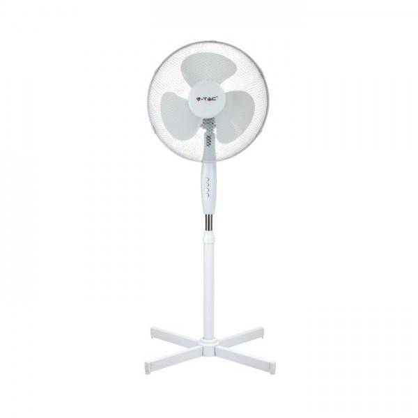 Ventilator alb cu stand cruce 40W inaltime reglabila 4 butoane 3 pale - 16 inch