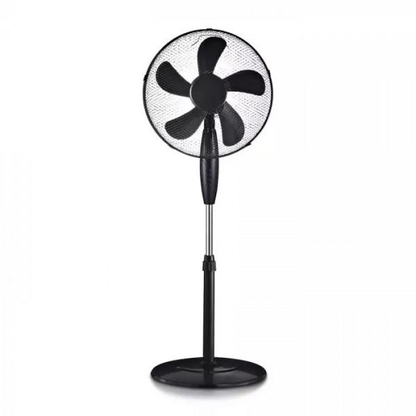 Ventilator negru cu stand rotund 55W inaltime reglabila 4 butoane 5 pale - 16 inch