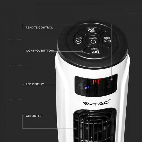 Ventilator turn Smart 55W Alb cu telecomanda afisaj LED compatibil cu AMAZON ALEXA si GOOGLE HOME 46 inch