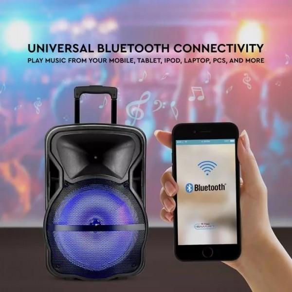 Boxa portabila tip troller 35W cu microfon telecomanda si lumini RGB - 12 inch