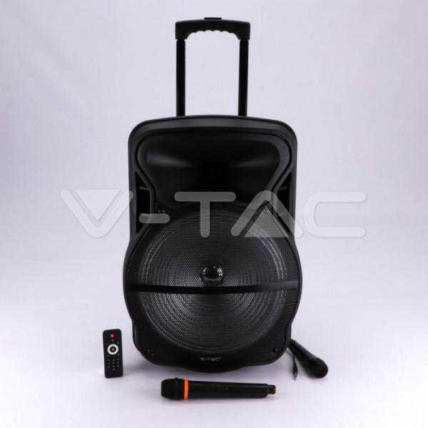Boxa portabila tip troller 55W cu microfon telecomanda si lumini RGB - 15 inch