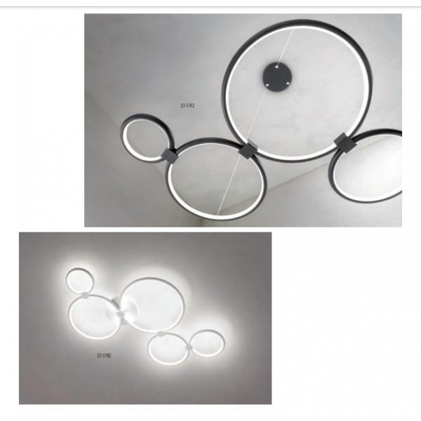 Lustra LED 45W RADIUS 935mm alb negru mat dimabila 3 trepte