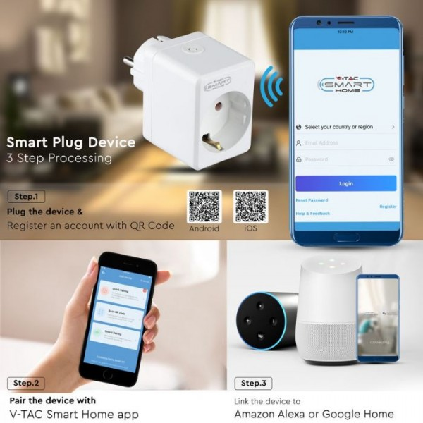 Priza WIFI inteligenta cu port USB alba compatibila cu AMAZON ALEXA si GOOGLE HOME