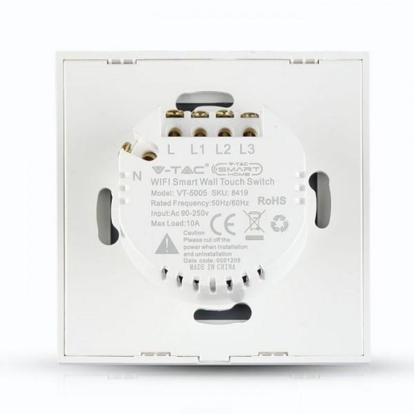 Intrerupator alb 3 comutatoare WIFI compatibil cu AMAZON ALEXA si GOOGLE HOME