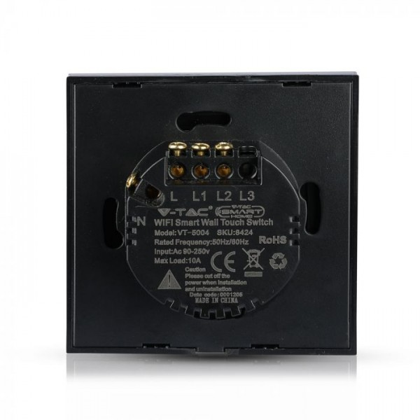 Intrerupator negru 2 comutatoare WIFI compatibil cu AMAZON ALEXA si GOOGLE HOME