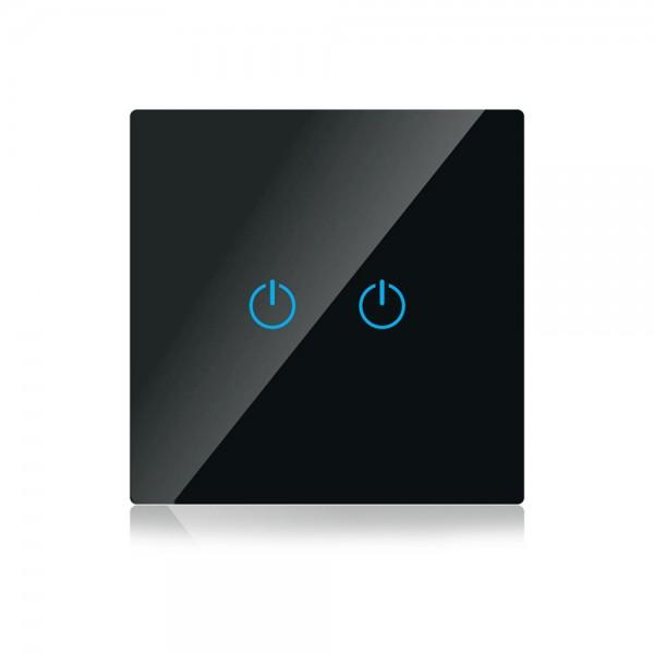 Intrerupator negru 2 comutatoare WIFI co...
