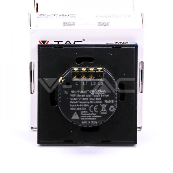 Intrerupator negru 3 comutatoare WIFI compatibil cu AMAZON ALEXA si GOOGLE HOME
