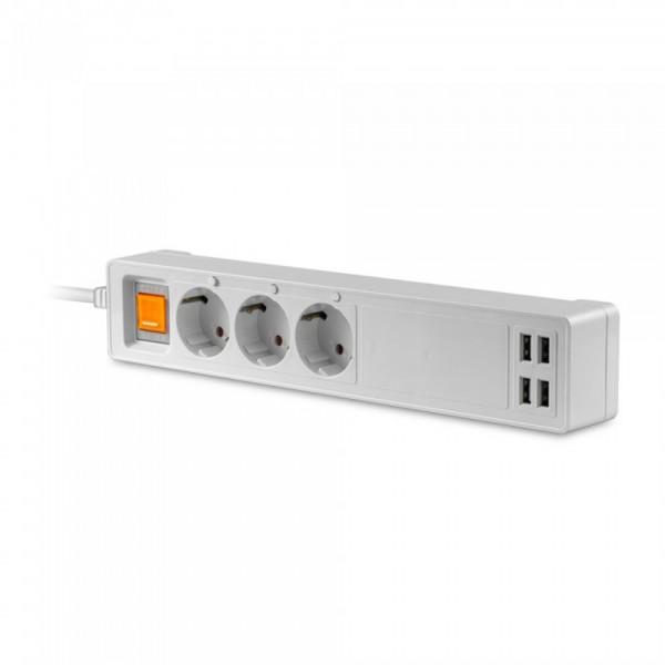 Prelungitor WIFI inteligent cu intrerupator 3 prize 4 porturi USB compatibil cu AMAZON ALEXA si GOOGLE HOME