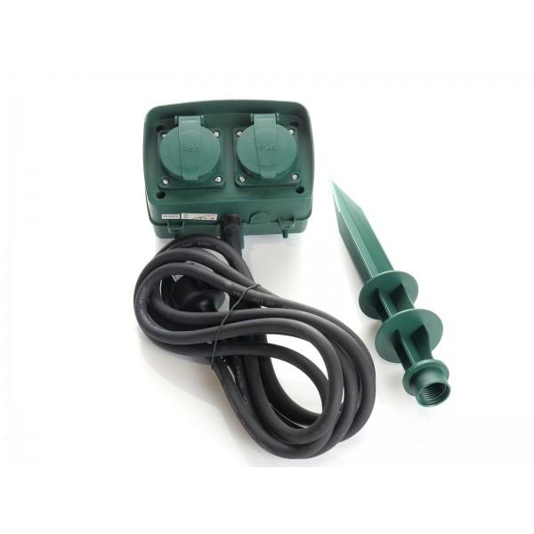 Prelungitor gradina 2 intrari cu tarus si temporizator mecanic cablu 3G IP44 verde