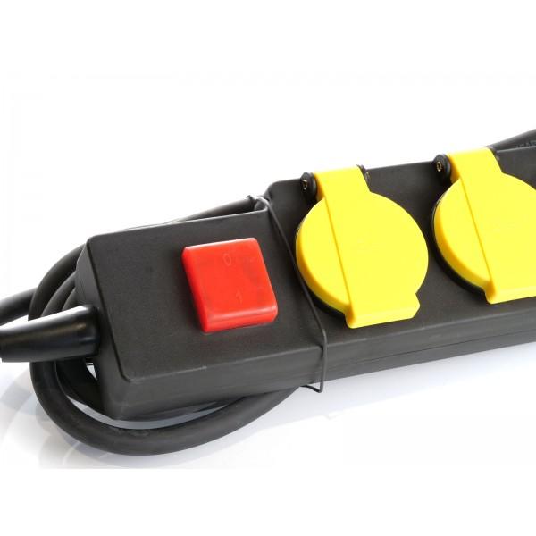 Prelungitor 5 intrari intrerupator iluminat cablu 3G IP44 Negru si galben