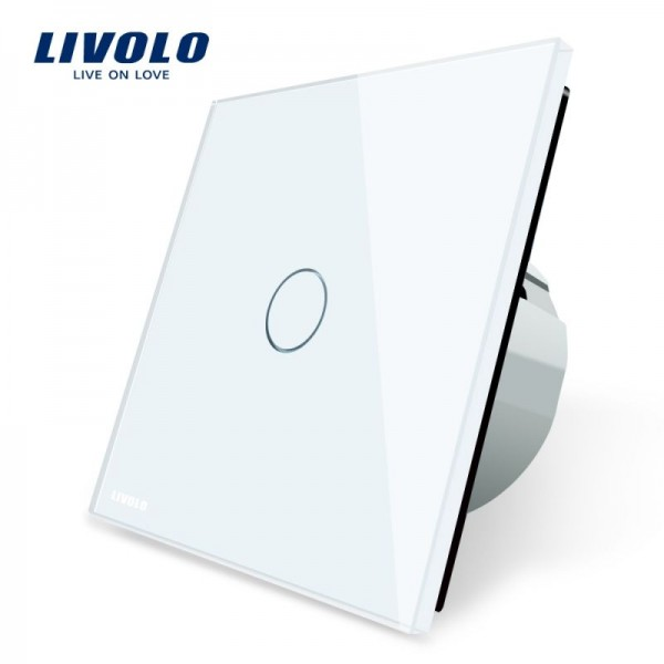 Intrerupator simplu cu touch Livolo cu rama din sticla alba