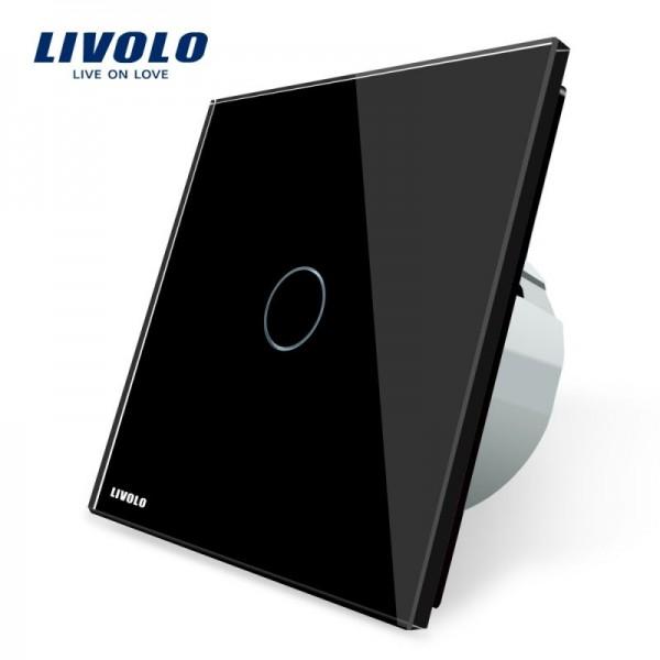 Intrerupator simplu cu touch Livolo cu rama din sticla neagra