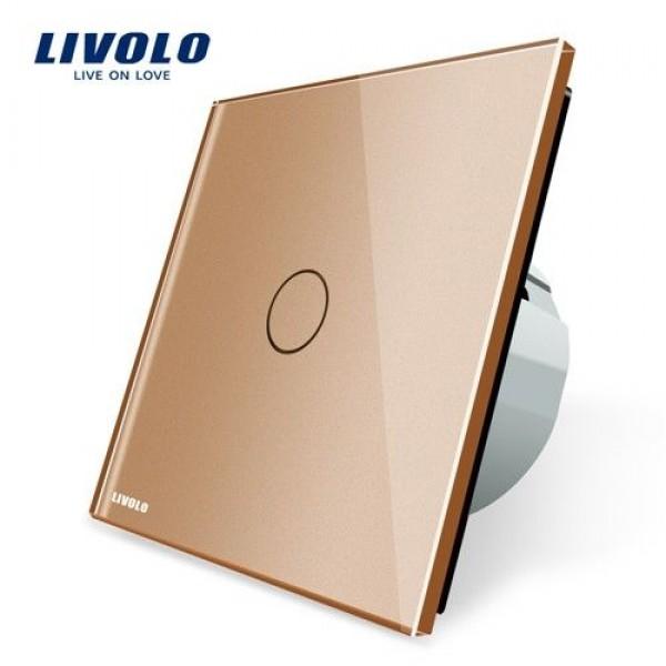 Intrerupator simplu cu touch Livolo cu rama din sticla aurie