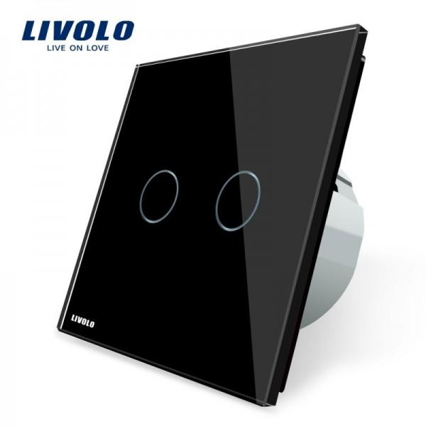 Intrerupator dublu cu touch Livolo cu rama din sticla neagra