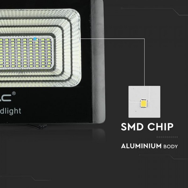 Proiector LED negru 20W Alb Rece cu panou solar si telecomanda cu functii multiple