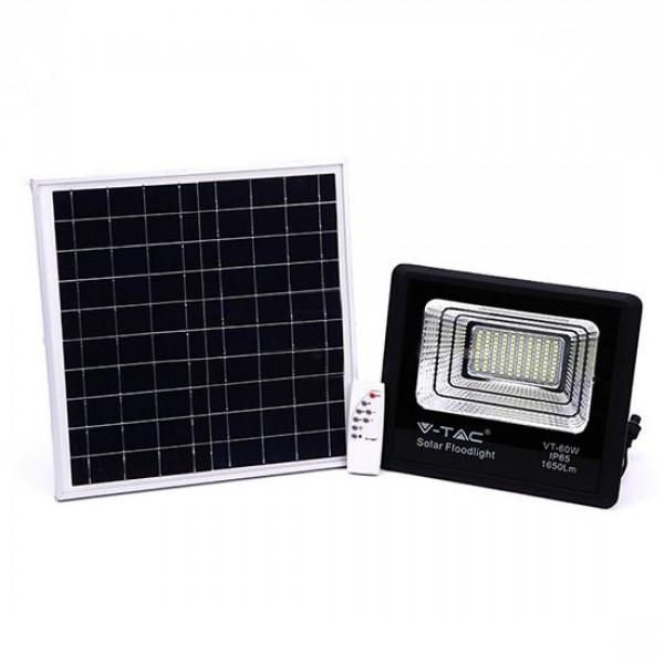 Proiector LED negru 20W Alb Neutru cu panou solar