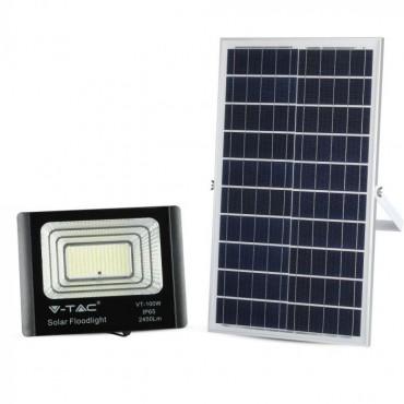 Proiector LED negru 35W cu panou solar si telecomanda cu functii multiple