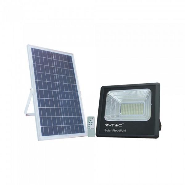 Proiector LED negru 35W Alb Neutru cu panou solar