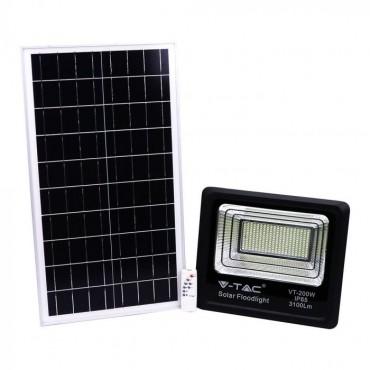 Proiector LED negru 40W Alb Rece cu panou solar si telecomanda cu functii multiple