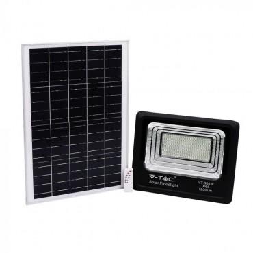 Proiector LED negru 50W Alb Neutru cu panou solar si telecomanda cu functii multiple