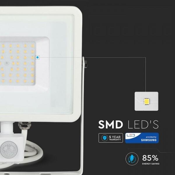 Proiector LED cu senzor 50W Cip SAMSUNG Corp Alb Alb Rece
