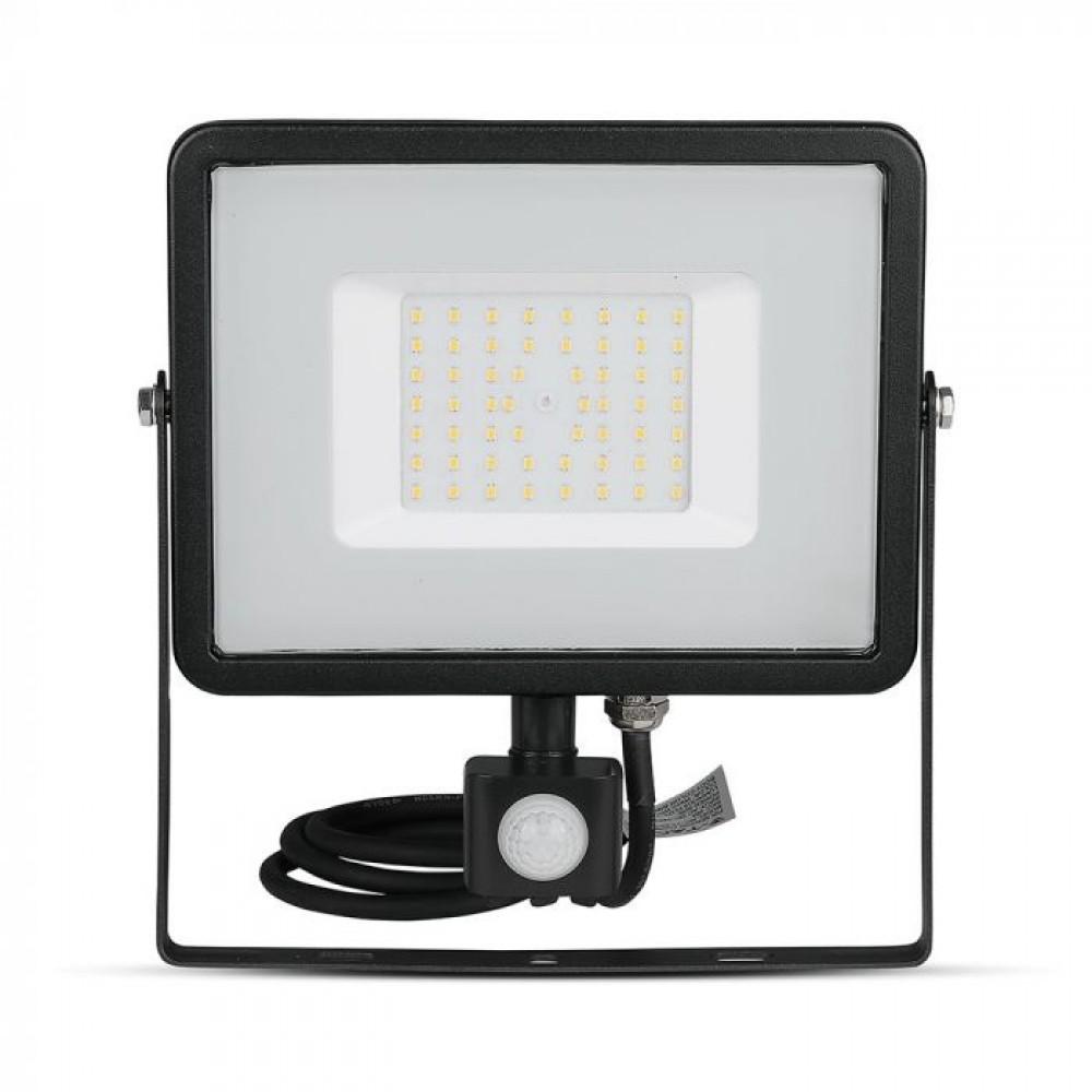 Proiector LED cu senzor 50W Cip SAMSUNG Corp Negru Alb Rece