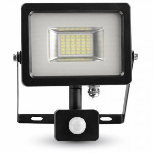 Proiector LED 20W Corp Negru cu Senzor SMD Alb Cald
