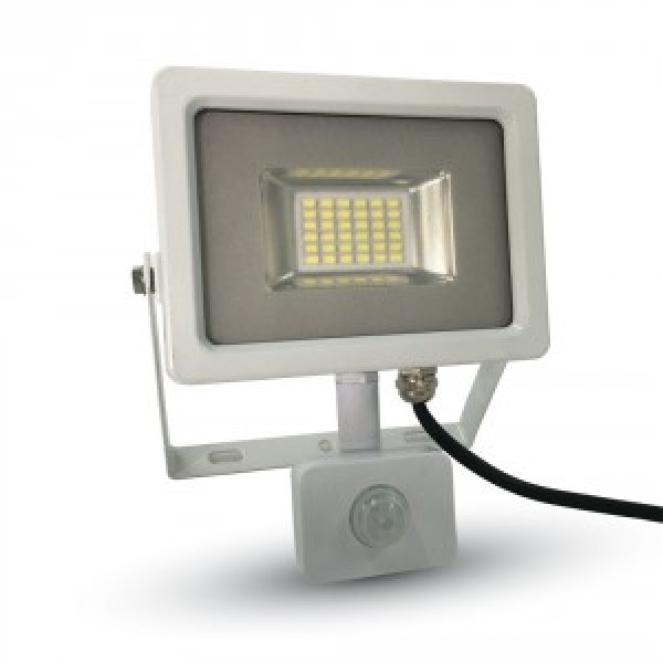 Proiector LED 20W Corp Alb cu Senzor SMD Alb Rece