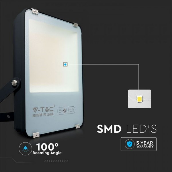 Proiector LED 100W A+++ Evolution 160lm/W Corp Negru Alb Rece