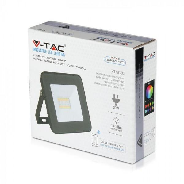 Proiector LED Smart 20W cu Bluetooth RGB + alb cald, neutru, rece Corp Negru