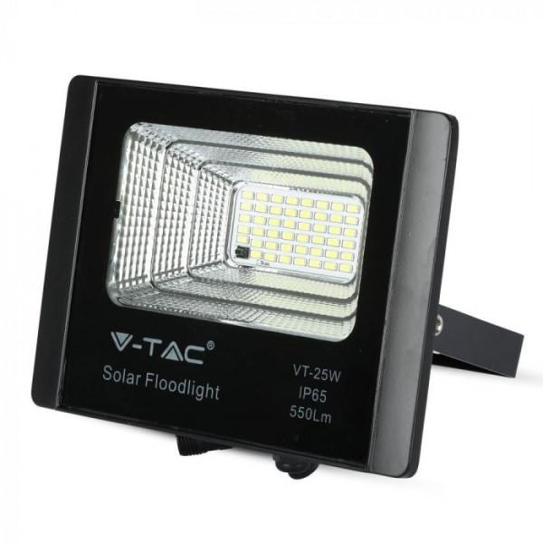 Proiector LED negru 12W Alb Rece cu panou solar si telecomanda cu functii multiple