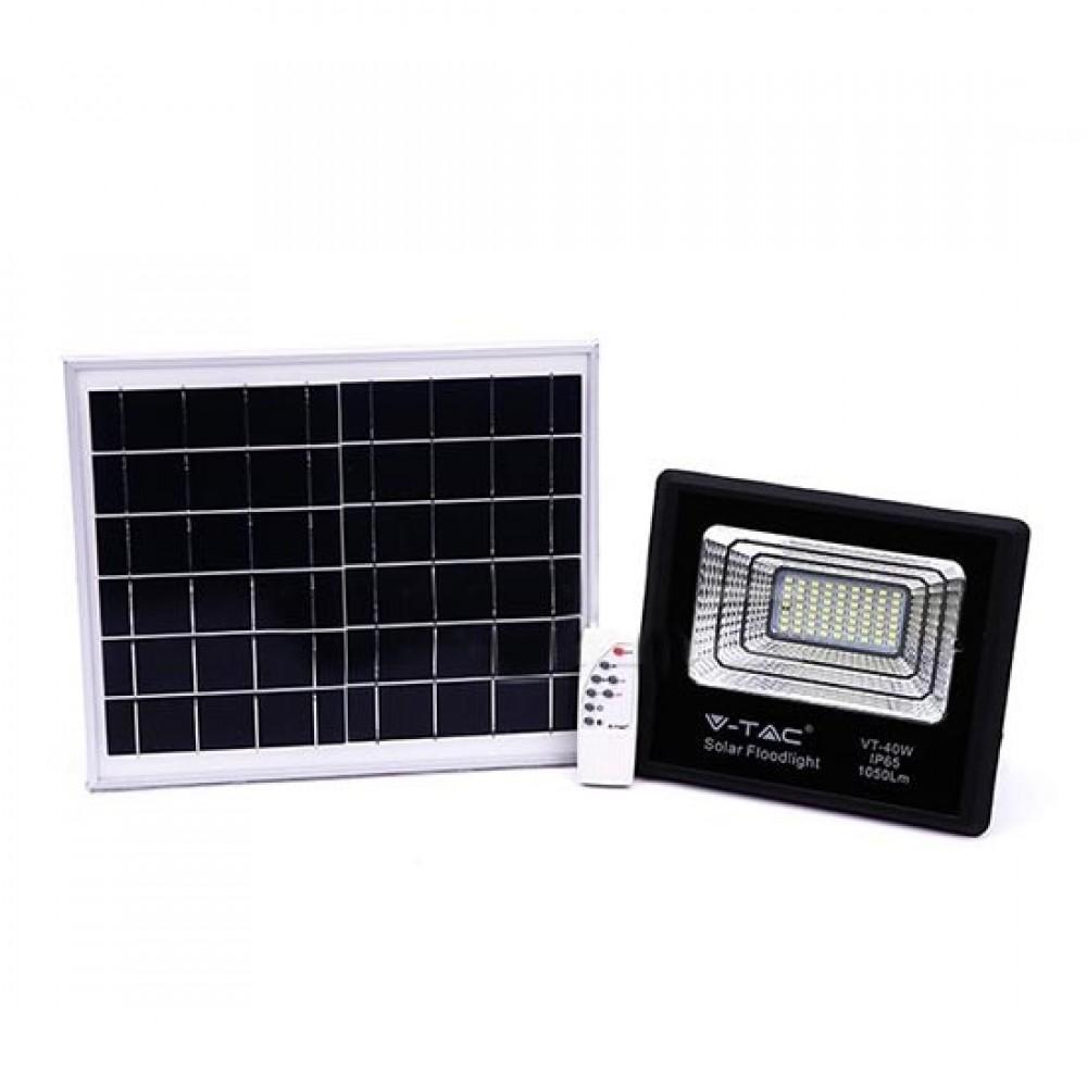 Proiector LED negru 16W Alb Rece cu panou solar si telecomanda cu functii multiple