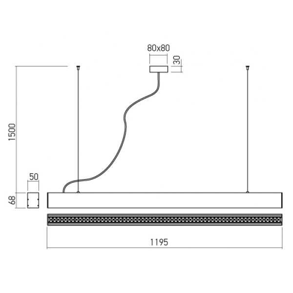 Corp de iluminat cu LED 50W suspendat XUNO 1200mm Corp Negru Alb Neutru UGR<16