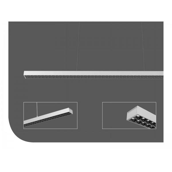Corp de iluminat cu LED suspendat 60W CIP SAMSUNG 120cm Alb Neutru Corp Argintiu - iluminare sus/jos
