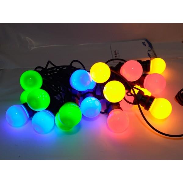 Sir de lumini LED cu 10 becuri 5 metri RGB + Alb Cald