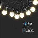 Sir de lumini LED cu 20 becuri 10 metri Alb Cald