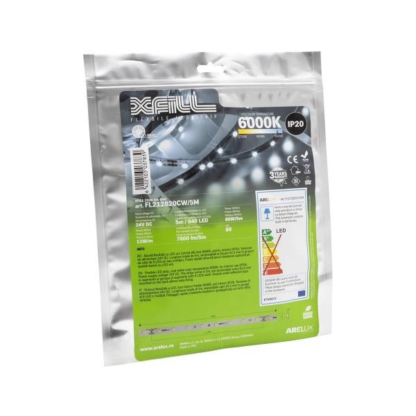 Banda LED de interior 12W XFILL SMD 2835 128 LED 24V Alb Rece