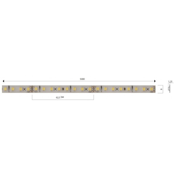 Banda LED de interior 12W XFILL SMD 2835 128 LED 24V Alb Neutru
