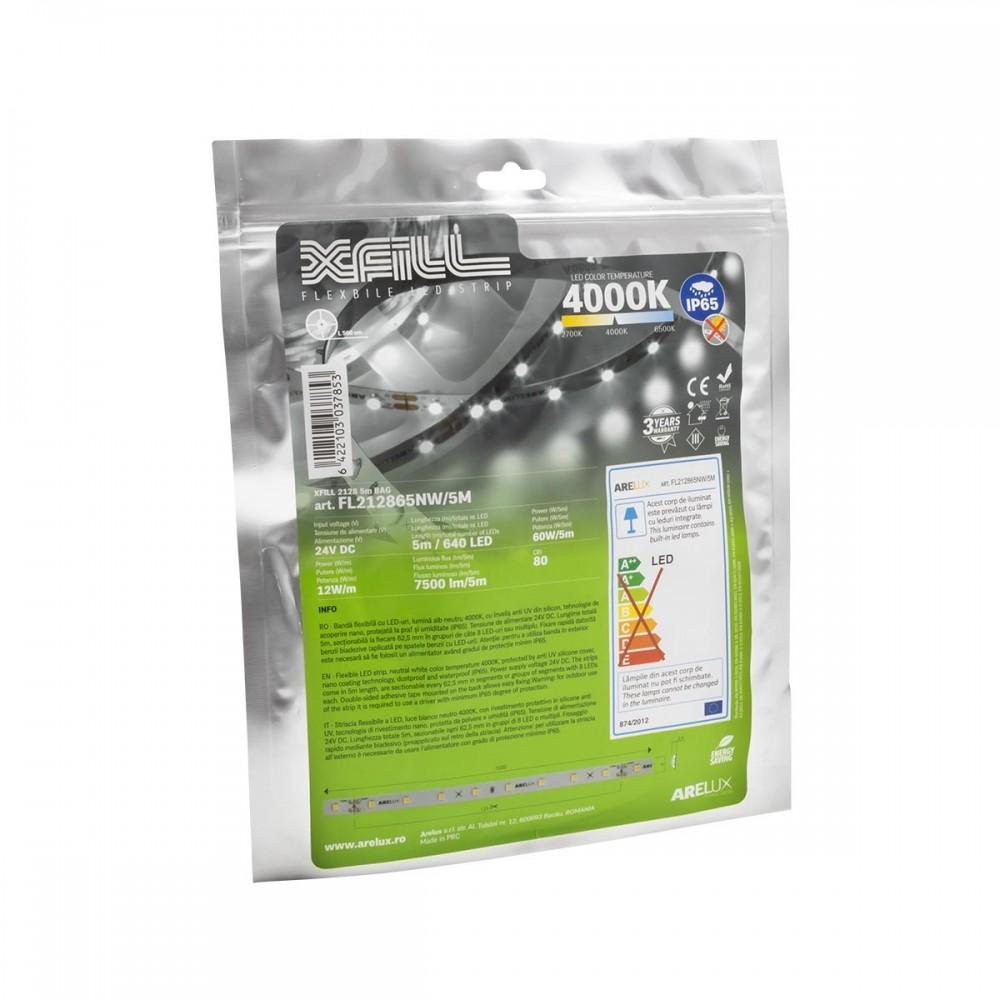 Banda LED de exterior 12W XFILL SMD 2835 128 LED 24V Alb Neutru