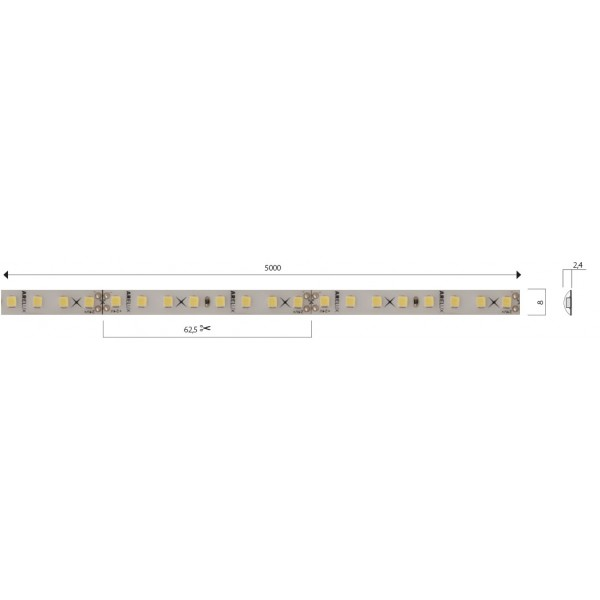 Banda LED de exterior 12W XFILL SMD 2835 128 LED 24V Alb Cald