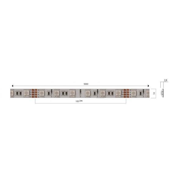Banda LED de exterior 14,4W XFILL SMD 5050 60 LED 24V RGB