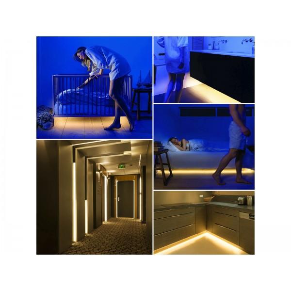 Set Banda LED cu senzor pentru pat single Alb Cald