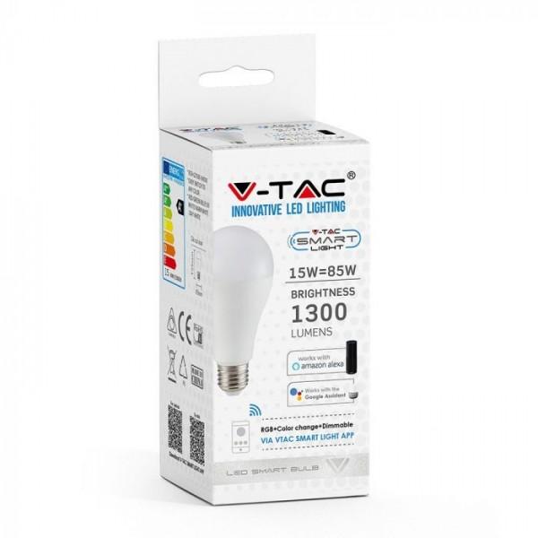 Bec LED smart 15W E27 compatibil cu Google Home si Amazon Alexa RGB-WW-CW