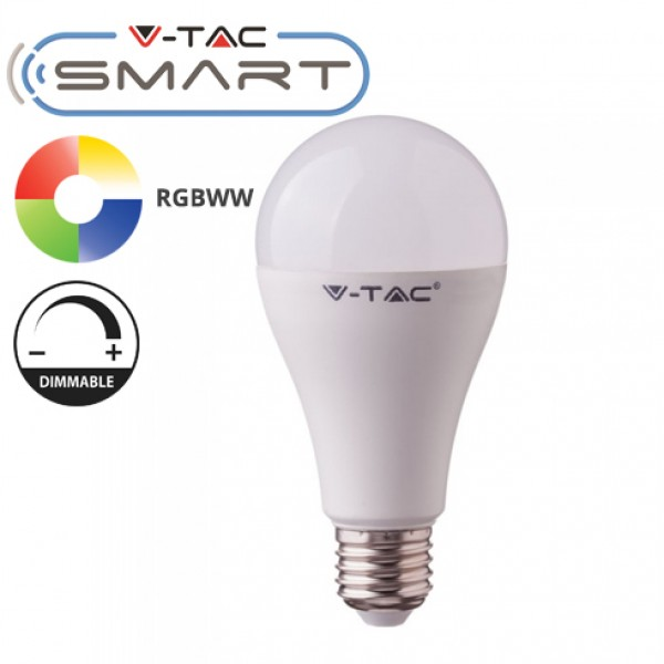 Bec LED smart 15W E27 compatibil cu Google Home si Amazon Alexa RGB-WW-CW