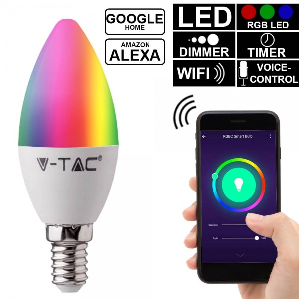 Bec LED lumanare smart 4.5W E14 compatibil cu Google Home si Amazon Alexa RGB-WW-CW