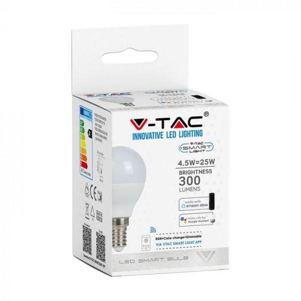 Bec LED smart 4.5W E14 P45 compatibil cu Google Home si Amazon Alexa RGB-WW-CW