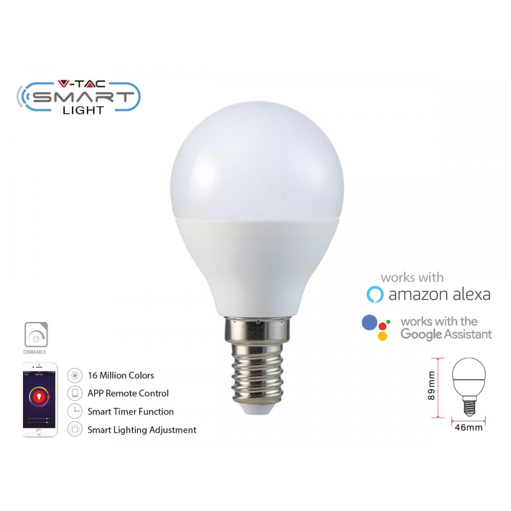 Bec LED smart 4.5W E14 P45 compatibil cu Google Home si Amazon Alexa RGB-WW-CW
