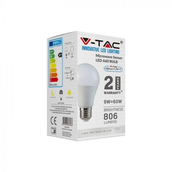 Bec LED inteligent 9W E27 cu senzor microunde Alb Cald