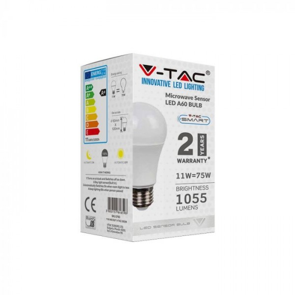 Bec LED inteligent 11W E27 cu senzor microunde Alb Cald